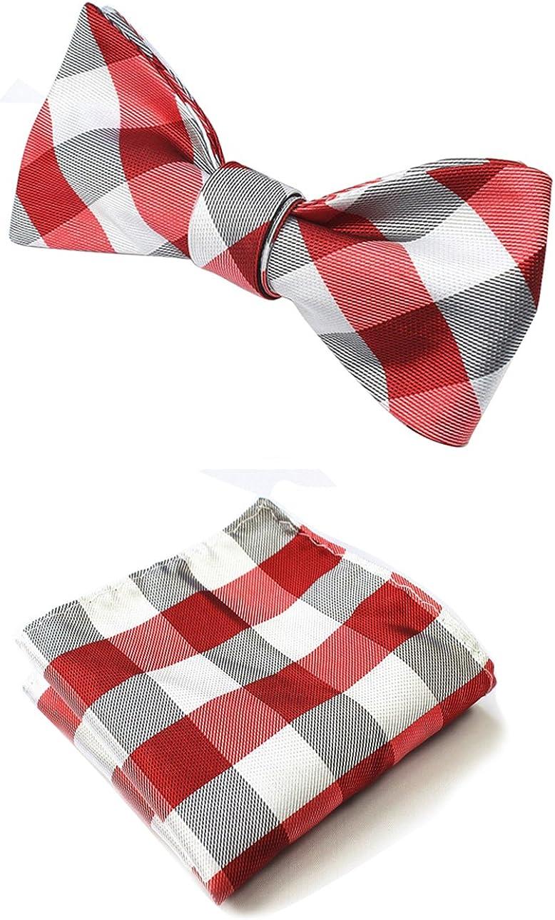 Men's Plaid Jacquard Woven Self Bow Tie & Pocket Square Hanky Set