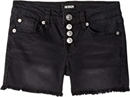 Fray Hem Shorts in Black Vintage (Big Kids)