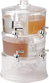 Mind Reader 4CBEVD-CLR Beverage Dispenser, 2 Tier Stackable Holder with Lids, Clear Acrylic 4 Compartment Drinks Display with Spigots, One Size