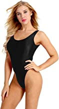 FEESHOW Women's One Piece Bodysuit High Cut Swimsuit Bikini Thongs Gymnastics Leotard