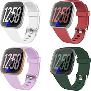 JuQBanke 4 Pack Band Compatible with Fitbit Versa 1 Fitbit Versa 2 Fitbit Versa Lite SmartWatch for Women Men, Soft Silicone Sport Replacement Wristband Strap Small Large for Fitbit Versa Family