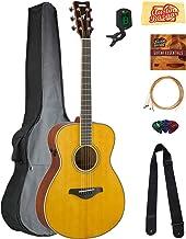 Yamaha FS-TA TransAcoustic Concert Acoustic-Electric Guitar - Vintage Tint Bundle with Gig Bag, Tuner, Strings, Strap, Pic...