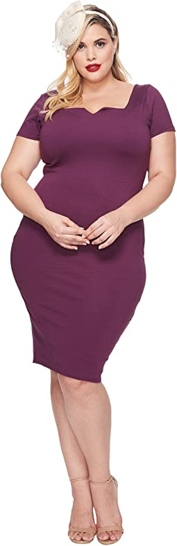 Unique Vintage - Plus Size Short Sleeve Harris Knit Wiggle Dress
