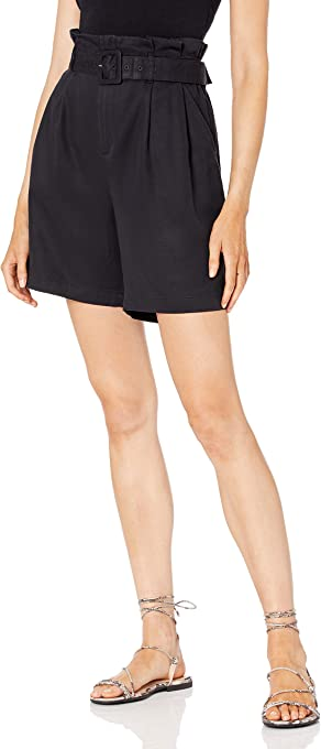 The Drop Women's Rosie High-Waist Paperbag Pleated Belted Long Short