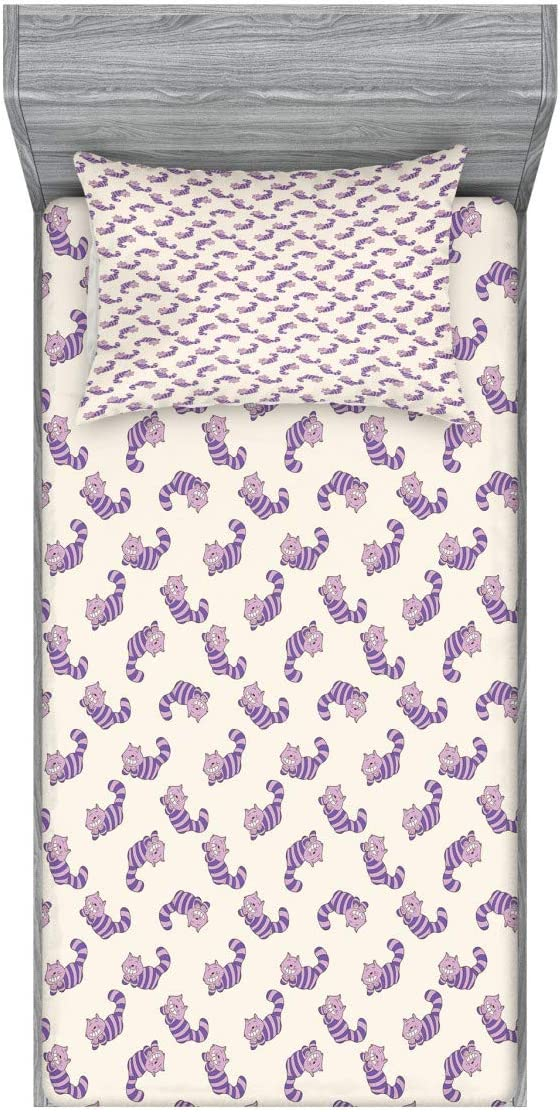 Lunarable 出色 新作送料無料 Cats Fitted Sheet Pillow Alice Set Sham in Wonderla