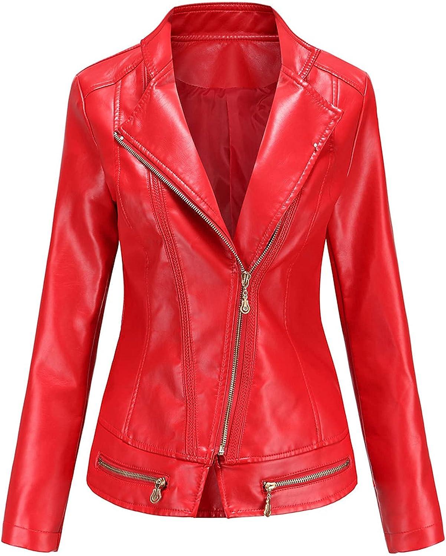 Women Slim Leather Coat Turndown Collar Zip-Up Jacket Outwear Plus Size Waterproof Lightweight Motorcycle Outwear