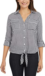 Women's Front Tie Button Down Blouse Top