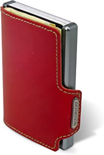 MONDRAGHI® linea THE ORIGINAL red stitched | Pelle a concia vegetale. Mini-wallet portatessere in pelle e clip portabancon...