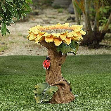 YEXINTMF Polyresin Sunflower Bird Bath, Handmade Wild Bird Feeder and Birdbath Bowls, Garden Ornament with Ladybutt Yard Lawn