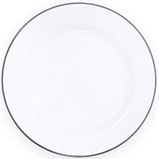 Enamelware Dinner Plate - Solid White with Grey Rim