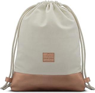 Drawstring Bag White/Rose Gold Gymsack Gym Sack Men & Women