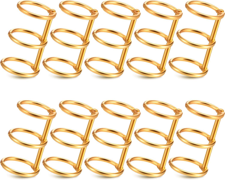 Pack de 10 ganchos para agenda, 3 anillos (Dorado)