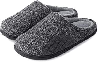 Men's Cashmere Cotton Knitted Slippers with Cozy Memory Foam and Fuzzy Coral Fleece Lining, Slip on Clog House Shoes with Anti-Skid Indoor Outdoor Rubber Sole