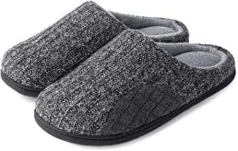 ULTRAIDEAS Men's Cashmere Cotton Knitted Slippers with Cozy Memory Foam and Fuzzy Coral Fleece Lining, Slip on Clog House Shoes with Anti-Skid Indoor Outdoor Rubber Sole