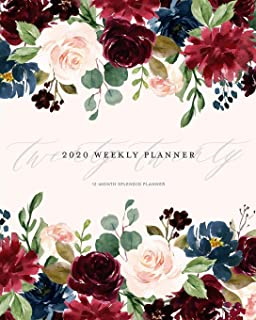 2020 Weekly Planner 12-Month Splendid Planner: Marsala & Navy Garnet Floral Bloom Romantic  Monthly Dated Calendar Organizer for Women with To-Do's, Checklists, Notes and Goal Setting Pages