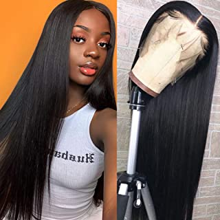 Hermosa 9A Lace Front Human Hair Wigs Pre Plucked with Baby Hair 150% Density Straight..
