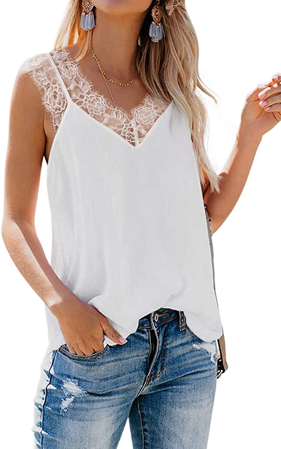 BLENCOT Women's Summer Sleeveless Shirts V Neck Lace Strappy Trim Camisole Tank Tops Loose Blouse