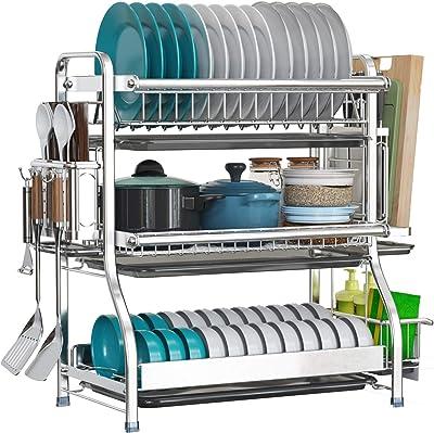 LIVOD - Estante para secar platos de 3 niveles de gran capacidad, acero inoxidable 304 con soporte para cuchillos y placa de drenaje extraíble, escurridor de platos inoxidable para cocina, organizador de encimeras de cocina, color plateado