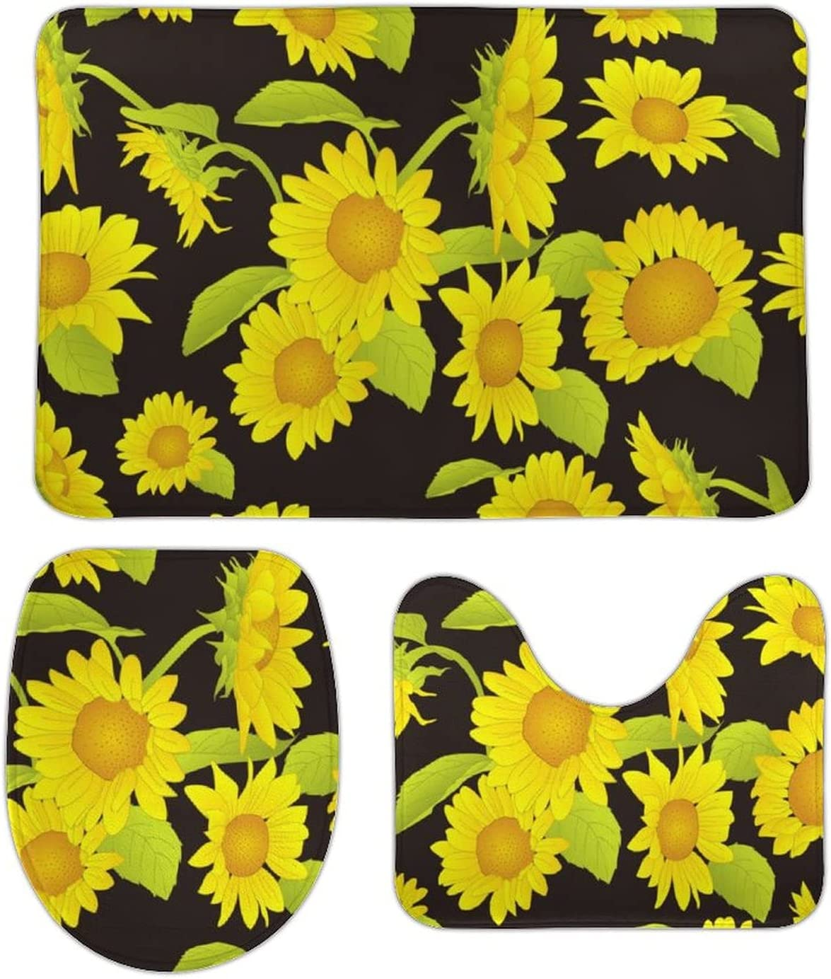 At the price of surprise Beautiful Yellow Sunflower Black 3 Rug Bathroom Set Max 69% OFF Pieces Ultr