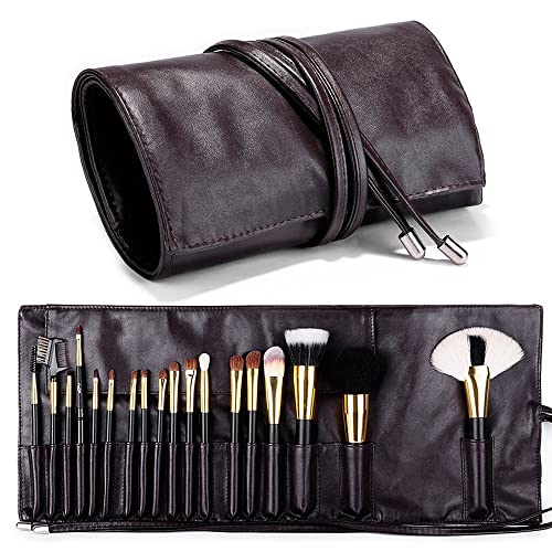 Makeup Brush Rolling Case Pouch Holder Cosmetic Bag Organizer Travel Portable 18 Pockets Cosmetics Brushes Leather