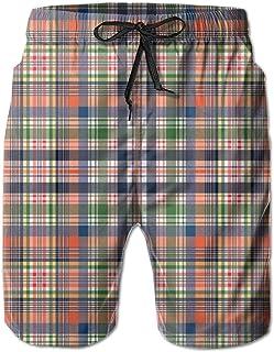 Men Swim Trunks Beach Shorts Old Fashioned Plaid Tartan in Dark Colors Classic English Tile Symmetrical