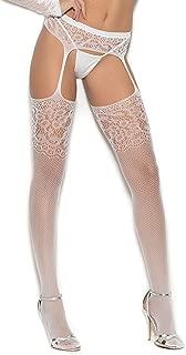 EM-1349 Crochet suspender pantyhose White / O/S