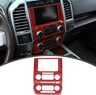 Voodonala Interior Center Console Navigation Panel Cover Antiscrach Protector Cover for Ford F150 2015-2020(Red Carbon Fiber Style)