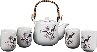 Ebros Japanese Design Pink Cherry Blossoms Sakura Porcelain White Tea Pot 20oz and Cups Set Serves 4 Guests Home Decor Asian Fusion Zen Fengshui Decorative Teasets Birthday Housewarming Gifts