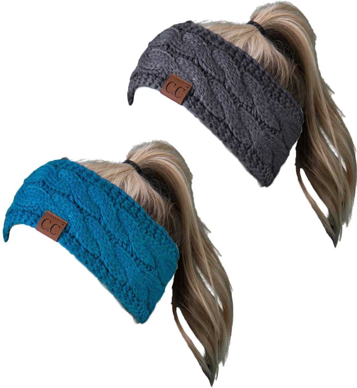 HW-6033-2-20a-4670 Headwrap Bundle - Teal & Solid Charcoal (2 Pack)
