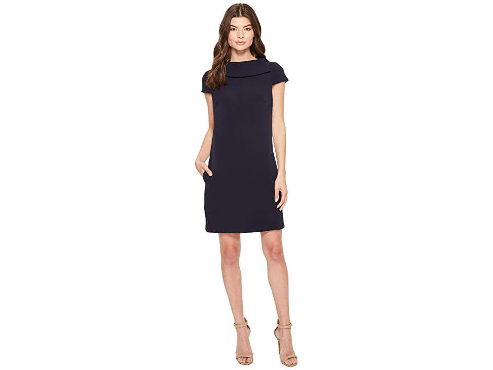 Badgley Mischka Cap Sleeve Dress (Navy) Women