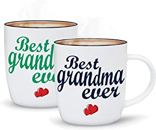 Gifffted Grandparents Mugs, Best Ever Grandma and Grandpa Coffee Mugs, Gifts From Grandson or Granddaughter For Grandparents Day Gifts, Perfect Christmas Gift For Grandparents, 2 Set Gift Cups V1