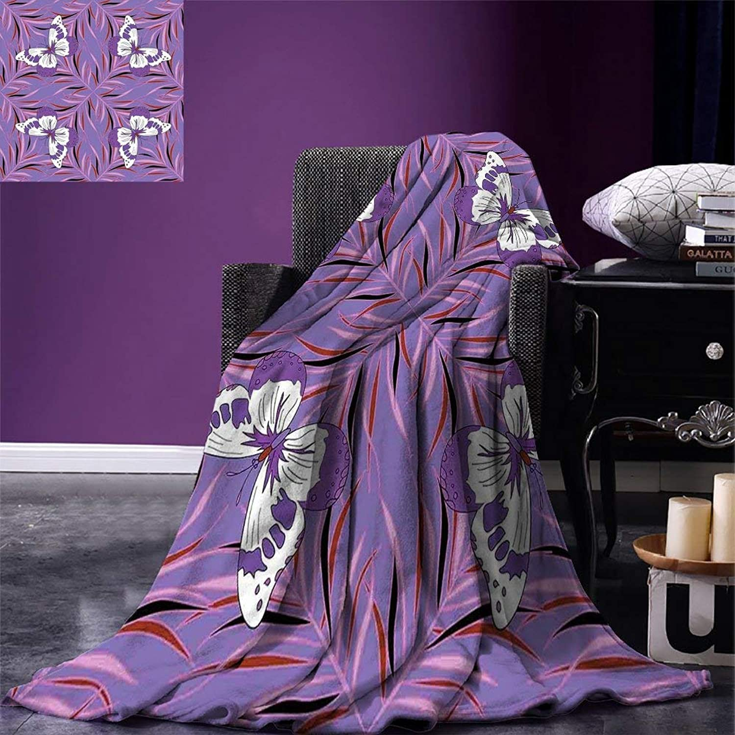 VANKINE Mauve Throw Blanket Exquisite Butterfly Icons Spiritual Animal with Wings Fairy Illustration Velvet Plush Throw Blanket Lavender and White