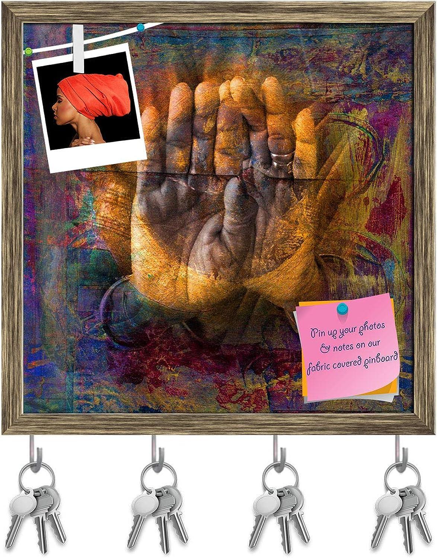 Artzfolio Gilded Hands in Open Palm Mudra Key Holder Hooks   Notice Pin Board   Antique golden Frame 20 X 20Inch