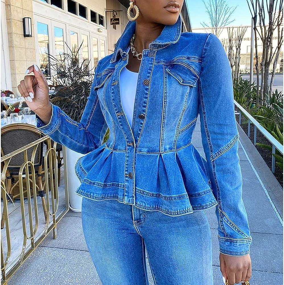 Women's Peplum Lapel Denim Jackets Button Down Ruffle Hem Casual Short Coat