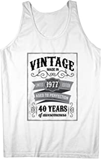 Vintage Made In 1977 40 Years お誕生日 男性用 Tank Top Sleeveless Shirt