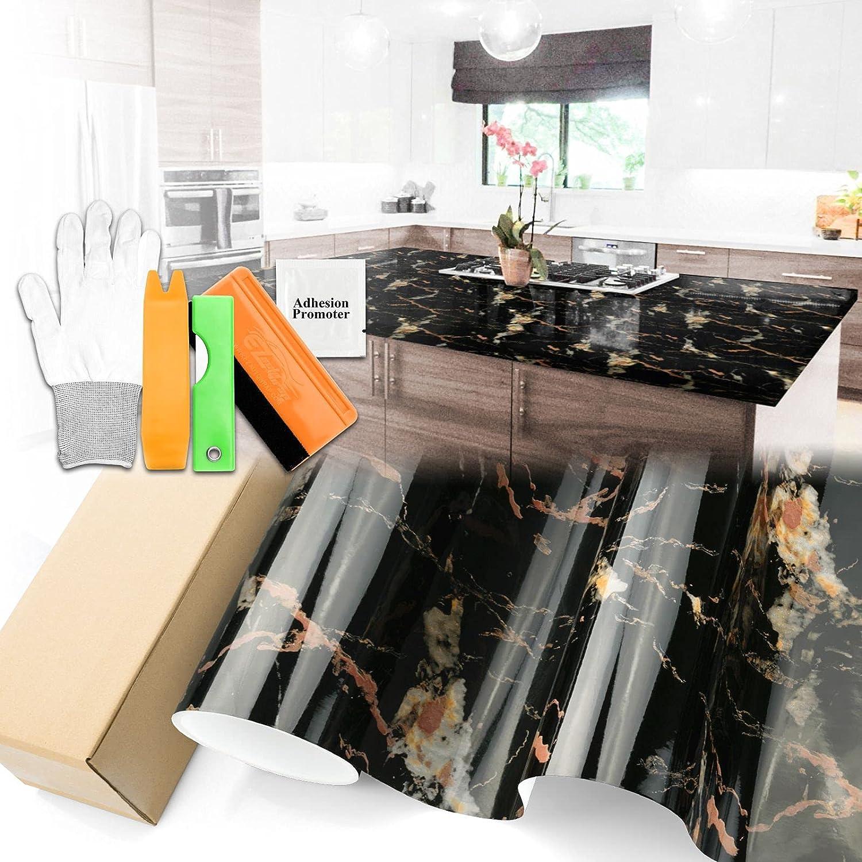 Gloss Golden Black Max 41% OFF Marble Granite Countertop Albuquerque Mall Wallpap Paper Vinyl