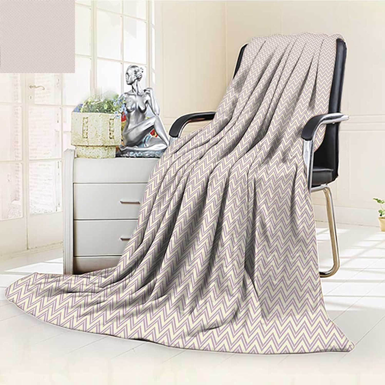 YOYI-HOME Digital Printing Duplex Printed Blanket Zig Zag Pattern Geometric Monochrome Nostalgic Design Cream and Lavander Summer Quilt Comforter  W59 x H39.5