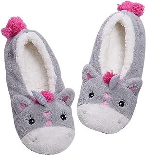 Panda Bros Womens Cozy&Warm Animal Slipper Socks with Grippers-House Socks(Gray Unicorn,5-7.5)