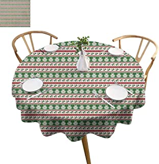 ScottDecor Christmas Picnic Cloth Color Bands with Vivid Baubles Mistletoe Holly and Dots Vintage Seasonal Waterproof Round Tablecloth Red Green White Diameter 70