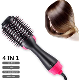 Hot Air Brush Hair Dryer, 3-in-1 One-Step Hair Dryer Styler Volumizer, Negative Ion Straightening Brush Salon and Curly Hair Comb for All Hair Type, Reduce Frizz and Static