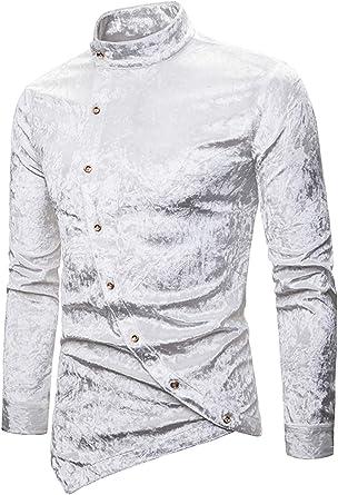 WHATLEES Camisa asimétrica de terciopelo para hombre Urban Basic Design