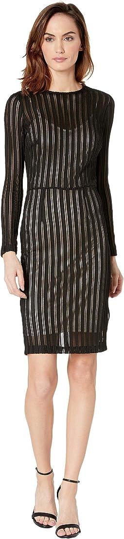 Long Sleeve Sporty Mesh Sheath Dress