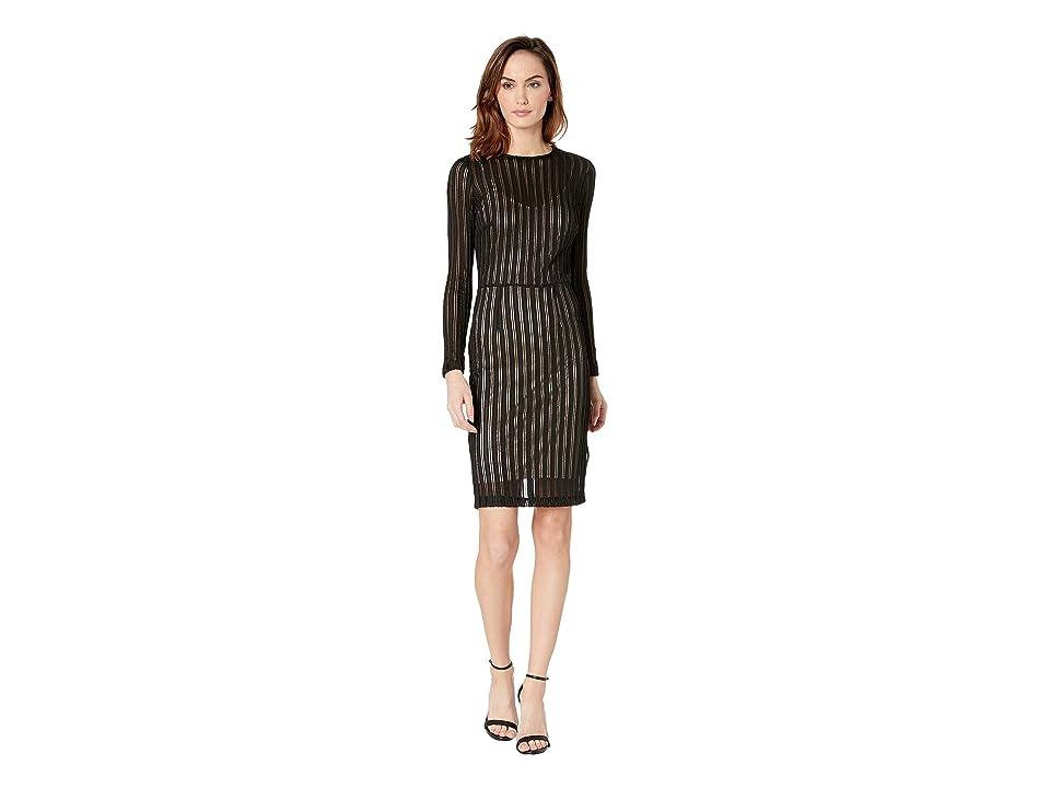 ALEXIA ADMOR Long Sleeve Sporty Mesh Sheath Dress (Multi/Black) Women