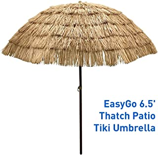 EasyGo - 6.5' Thatch Patio Tiki Umbrella – Tropical Palapa Raffia Tiki Hut Hawaiian Hula Beach Umbrella