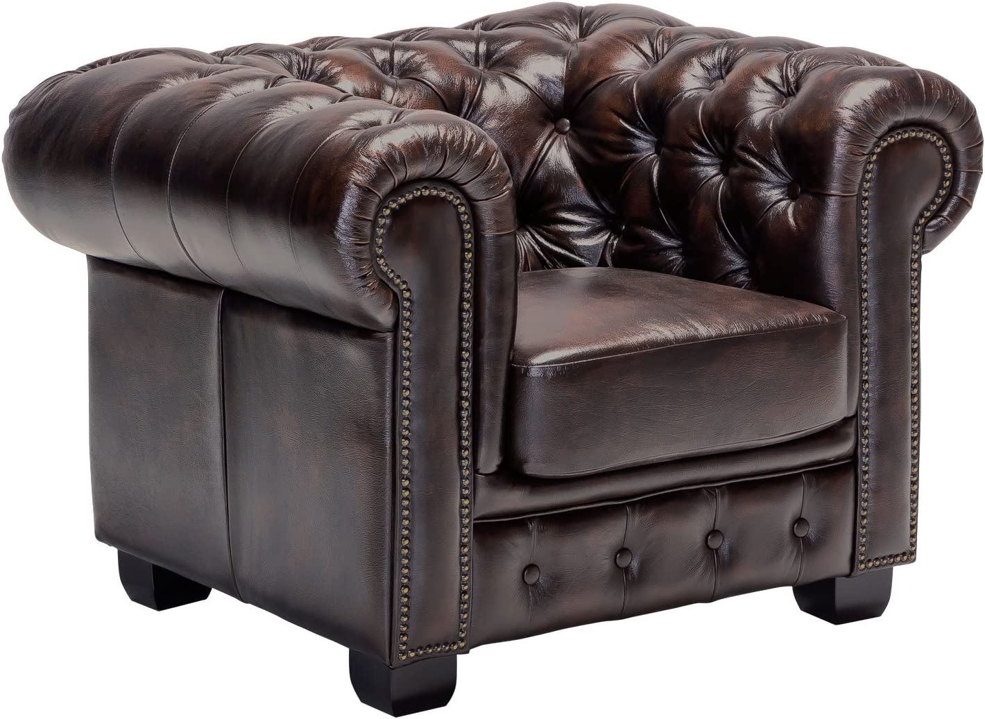 Woodkings® Chesterfield Armchair Antique Genuine Leather Office Chair  Upholstered Furniture Design Chair Spring Core Unique Men's Room English  Leather ...