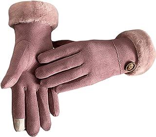 Ommda Damskie zamszowe rękawiczki z ekranem dotykowym palce zimowe ciepłe izolowane polarowe wyściełane rękawiczki do jazd...