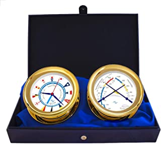 """Master-Mariner American Voyager Collection, Nautical Windlass Gift Set, 5.85"""" Diameter Time & Tide Clock and Comfort Meter Instruments, Gold Finish, Ivory Signal Flag dial"""