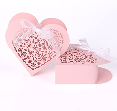 surepromise Laser Cut Heart Shape Wedding Favor Chocolate Candy Gift Boxes