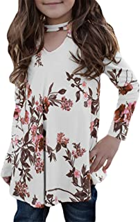 Blibea Girls Casual Floral Print Shirts Long Sleeve Cold Shoulder Ruffles Tops Blouse
