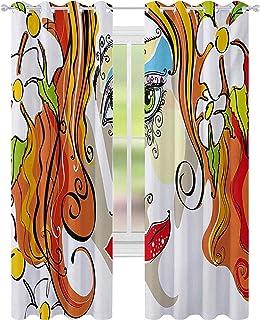 Mörkläggningsgardiner för rum, porträtt av den unga kvinnan med rött hår och blommande blommor och makeup-konst, B 52 x L6...